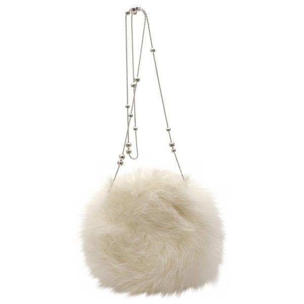 Pre-owned Swarovski White Faux Fur Handbag