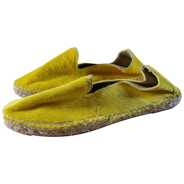 Pre-owned Manebi Yellow Pony-style Calfskin Espadrilles