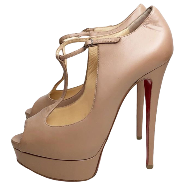 Pre-owned Christian Louboutin Beige Leather Sandals