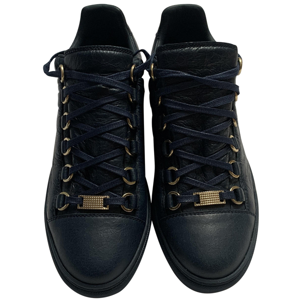 Pre-owned Balenciaga Arena Navy Leather Trainers
