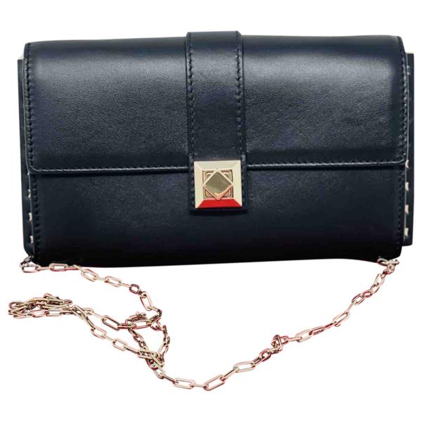 Pre-owned Valentino Garavani Black Leather Clutch Bag