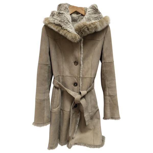 Pre-owned Yves Salomon Beige Rabbit Coat