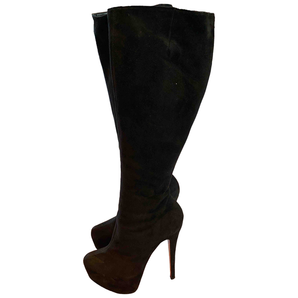 Pre-owned Christian Louboutin Black Suede Boots