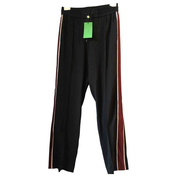 Pre-owned Kenzo Black Wool Trousers