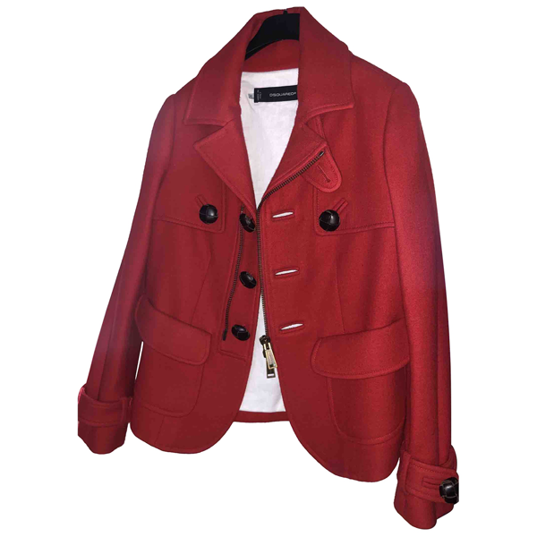 Pre-owned Dsquared2 Red Wool Coat