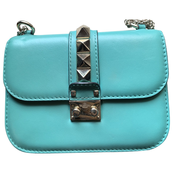 Pre-owned Valentino Garavani Glam Lock Turquoise Leather Handbag