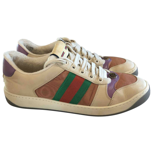 Pre-owned Gucci Screener Multicolour Leather Trainers