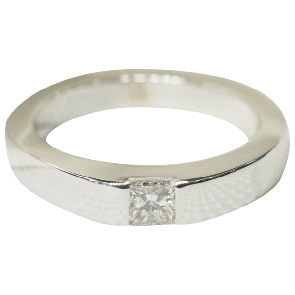 Pre-owned Cartier Tank Silver White Gold Ring