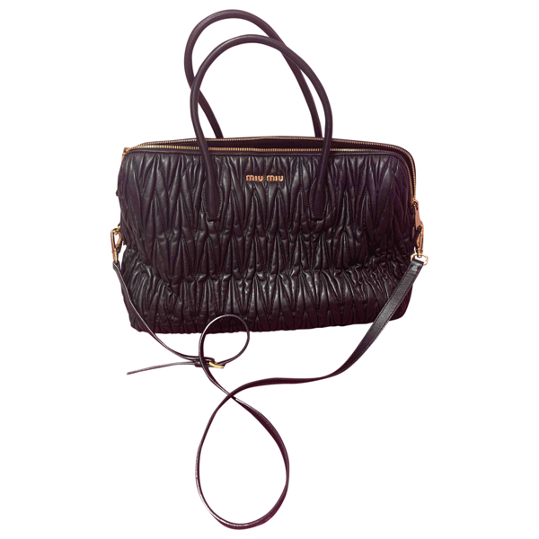 Pre-owned Miu Miu Matelassé Black Leather Handbag