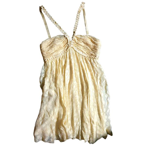 Pre-owned Bcbg Max Azria Yellow Silk Dress