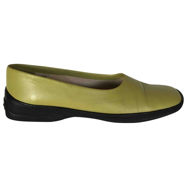 Pre-owned Tod's Green Leather Flats