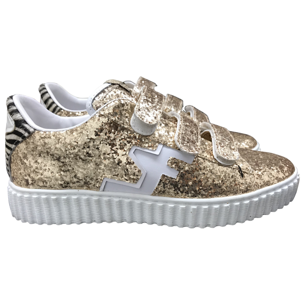 Pre-owned Serafini Gold Glitter Trainers