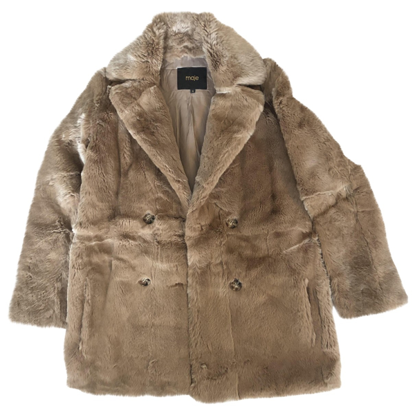 Pre-owned Maje Camel Rabbit Coat