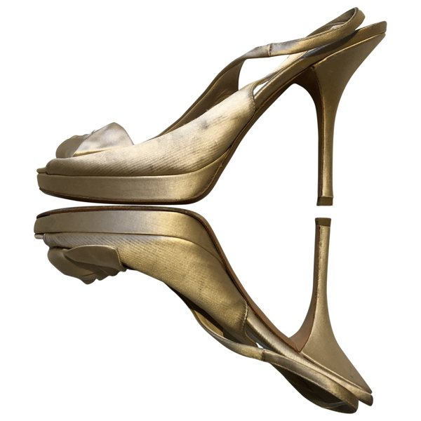 Pre-owned Prada Gold Cloth Sandals