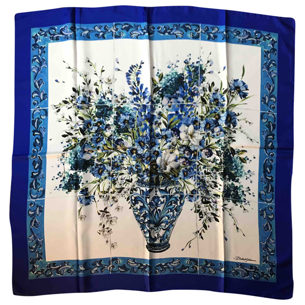 Pre-owned Dolce & Gabbana Blue Silk Scarf