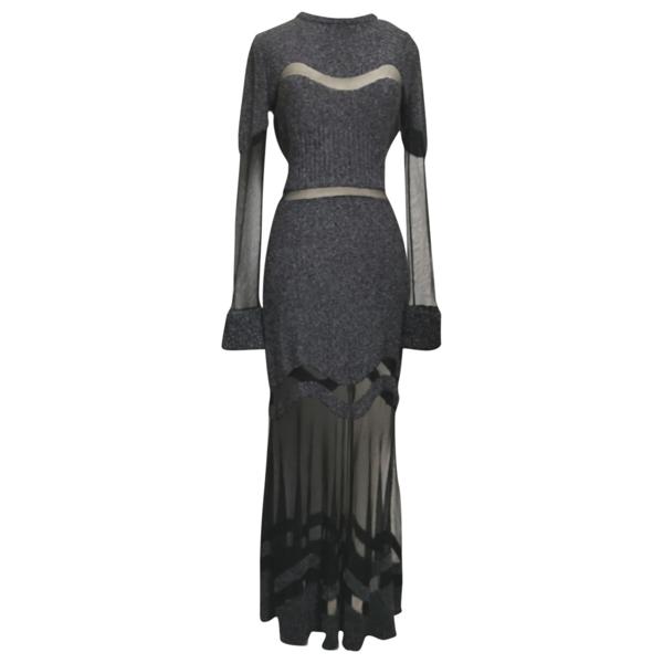 Pre-owned Alexander Mcqueen Grey Wool Dress