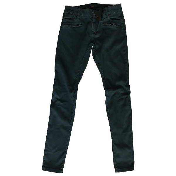 Pre-owned Maje Navy Cotton - Elasthane Jeans
