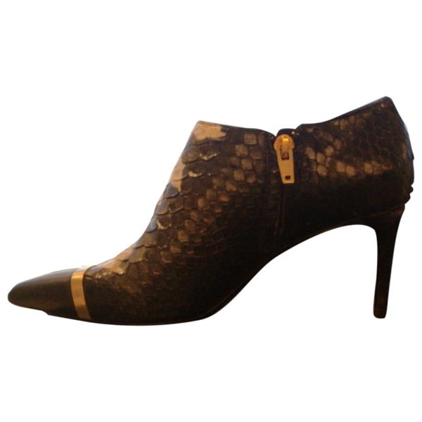Pre-owned Saint Laurent Mica Black Python Ankle Boots