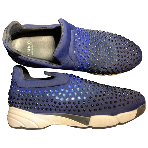 Pre-owned Pinko Blue Glitter Trainers