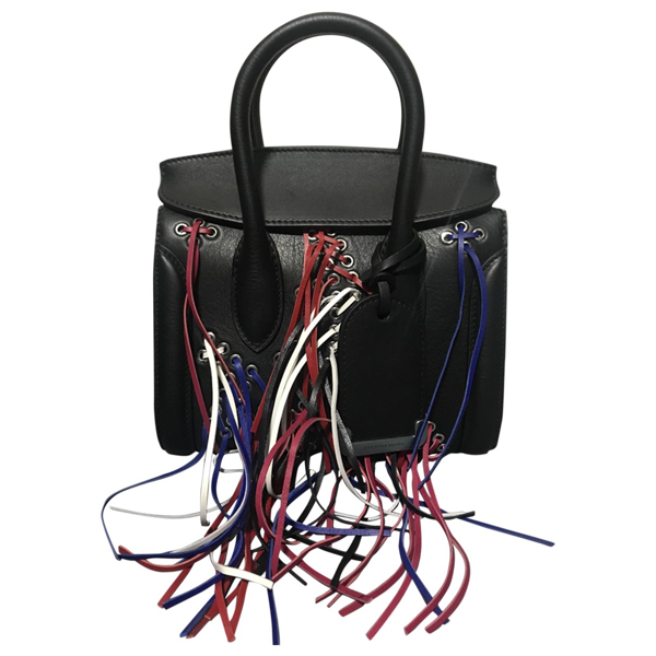 Pre-owned Alexander Mcqueen Heroine Black Leather Handbag
