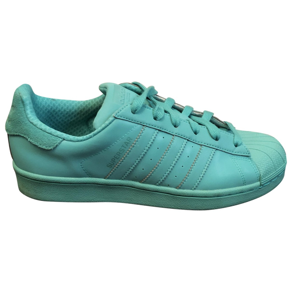 Pre-owned Adidas Originals Superstar Turquoise Rubber Trainers