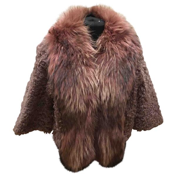 Pre-owned Mangano Pink Mongolian Lamb Coat