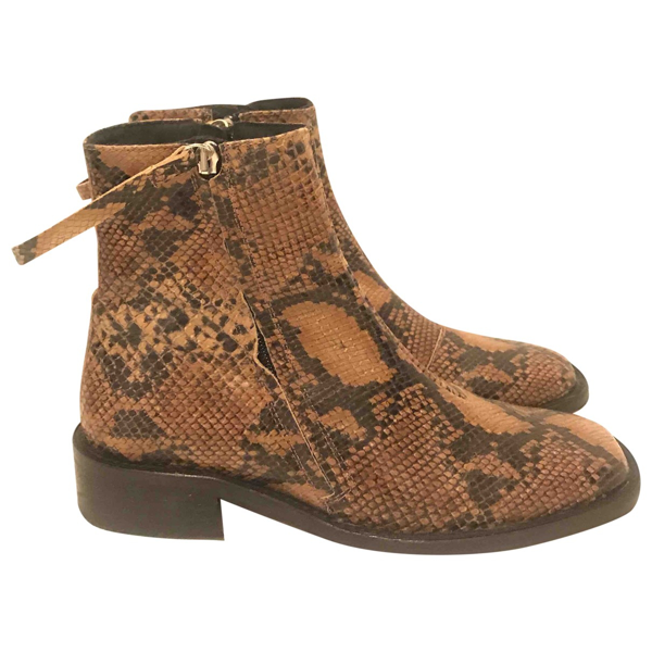 Pre-owned Topshop Tophop  Brown Leather Ankle Boots