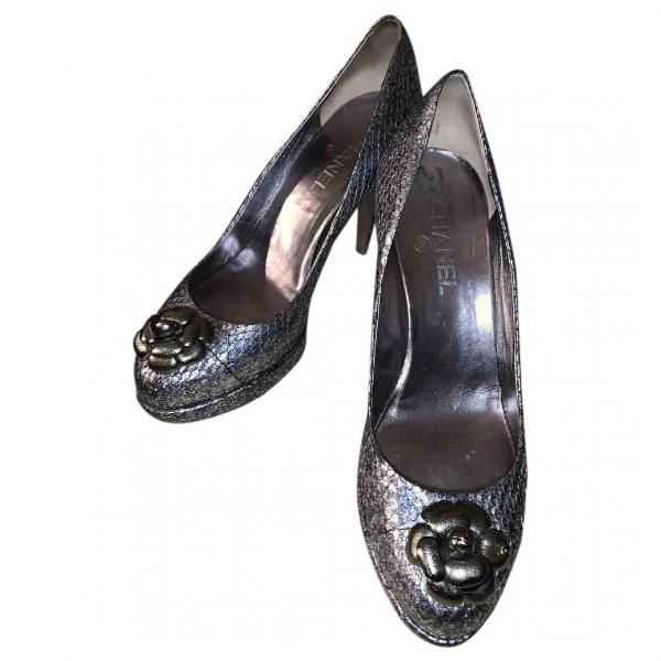 Chanel Metallic Python Heels