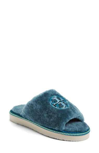 b30ed80a738 Tory Burch Shearling Logo Slide Slippers In Blue Shearling