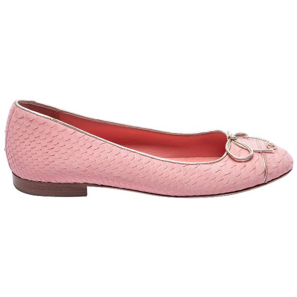 Chanel Pink Python Flats