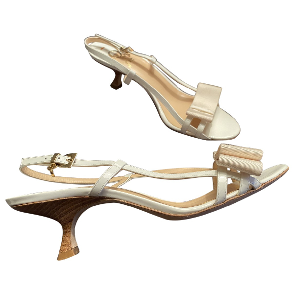 O Jour White Patent Leather Sandals