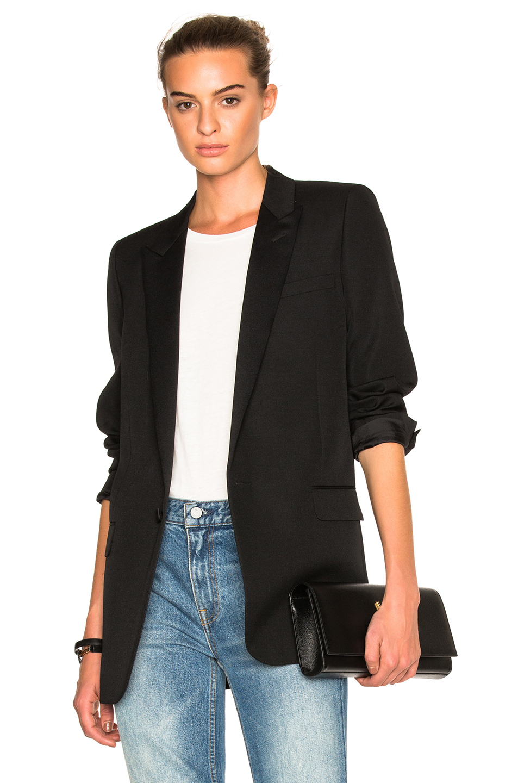 e82de060209 Saint Laurent Oversized Iconic Le Smoking Single Breasted Jacket In Black  Virgin Wool Gabardine