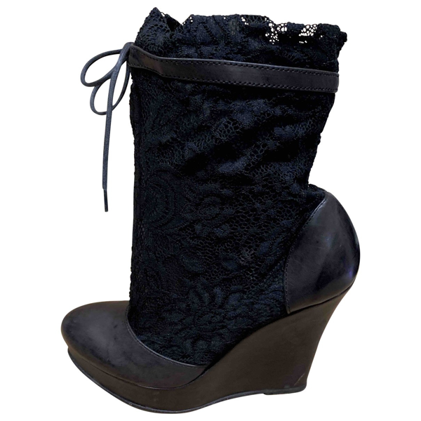 American Retro Black Leather Boots