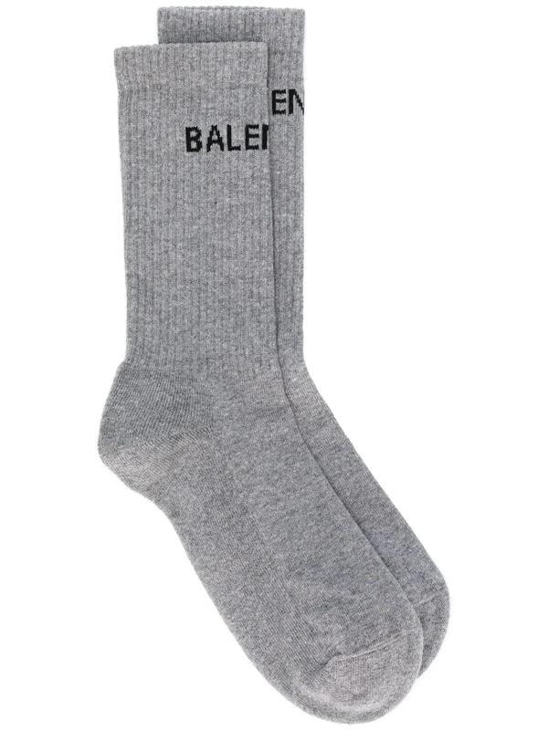 Balenciaga Men's Logo Tennis Socks In Grey