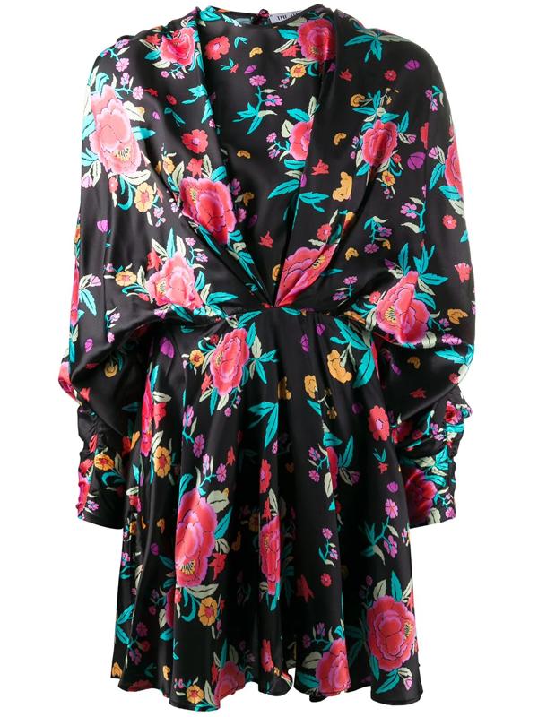 Attico Oriental Floral Print Mini Dress In Black