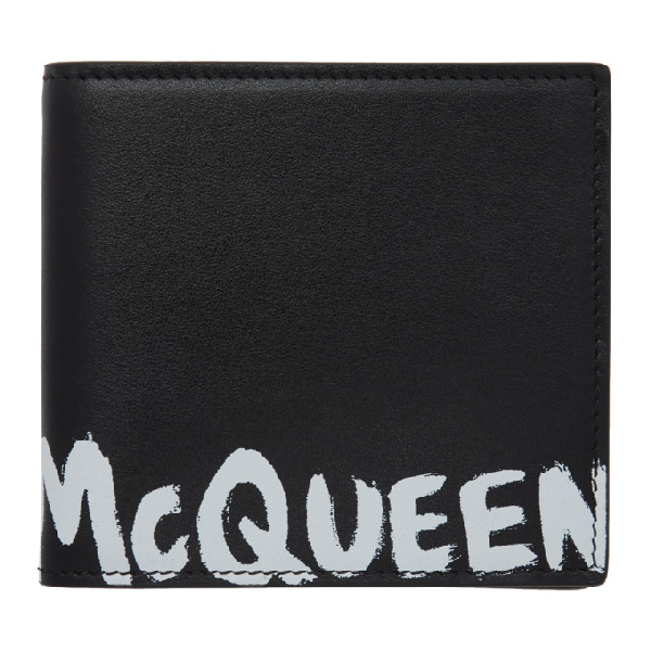 Alexander Mcqueen 'graffiti' Logo Print Leather Bifold Wallet In 1070blkwht