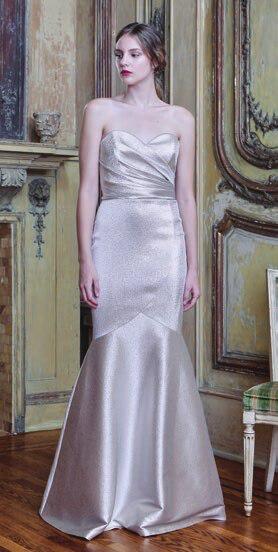 Theia Metallic Strapless Stretch Lamé Mermaid Gown In Platinum