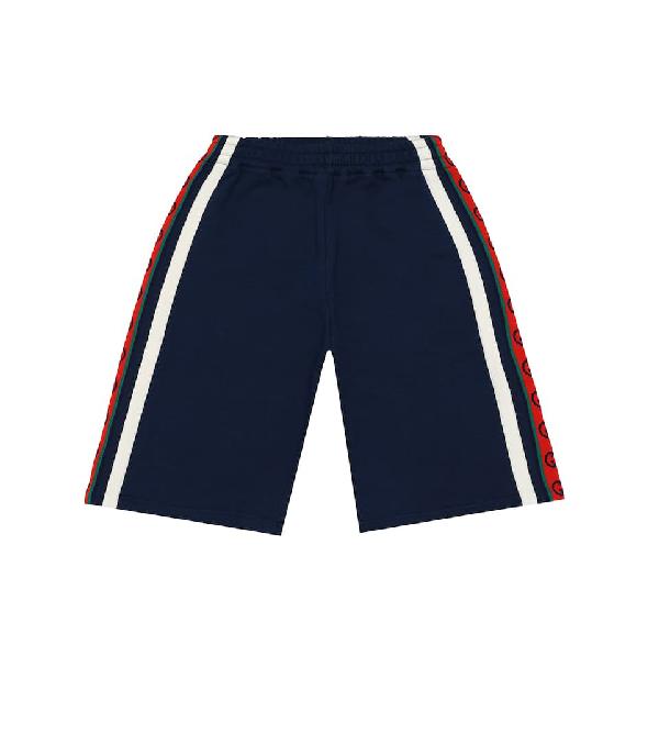 Gucci Kids' Children's Cotton Shorts With Interlocking G In Blue