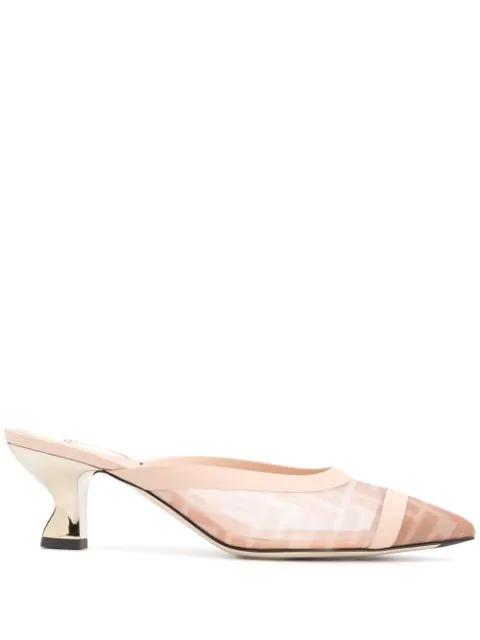 Fendi 55mm Colibri Mesh Mule Sandals In Neutrals