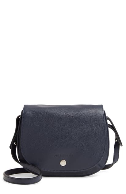 Small Le Foulonne Leather Crossbody Bag In Navy