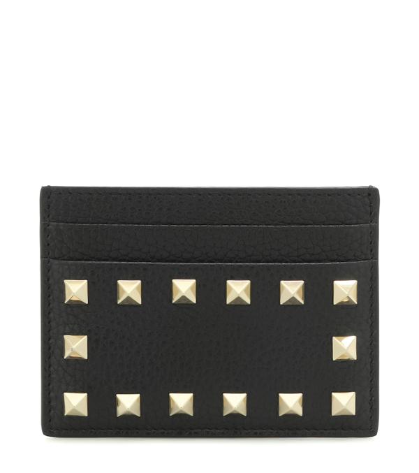 Valentino Garavani Rockstud Embellished Leather Card Holder In Black