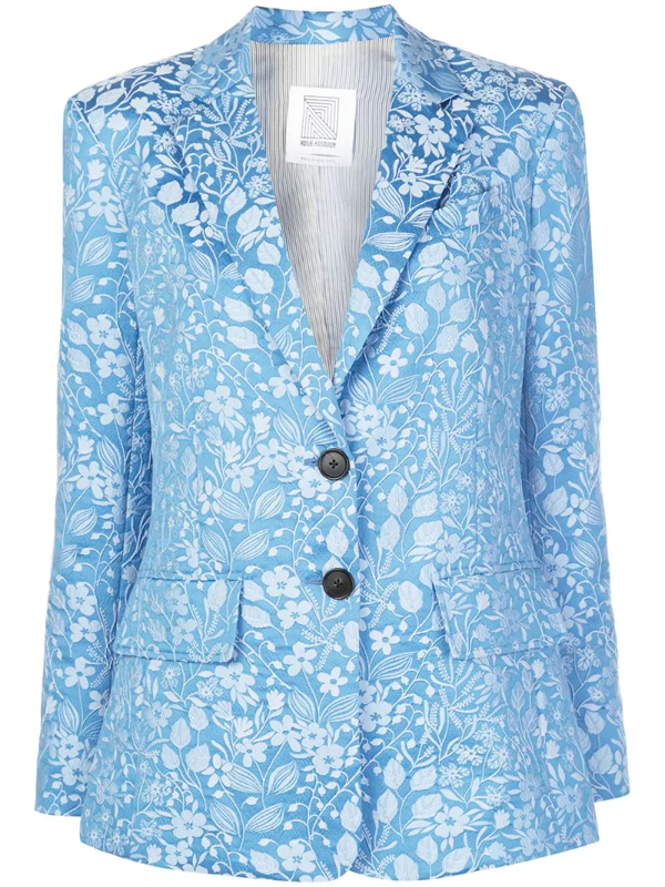 Rosie Assoulin Floral Jacquard Blazer, Blue
