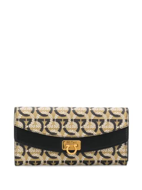 Salvatore Ferragamo Continental Gancini Coated Leather Wallet In Neutrals