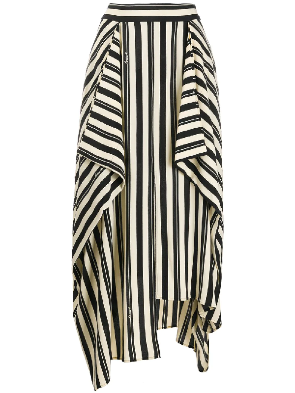 Loewe Long Panel Stripe Printed Crepe Skirt In Neutrals