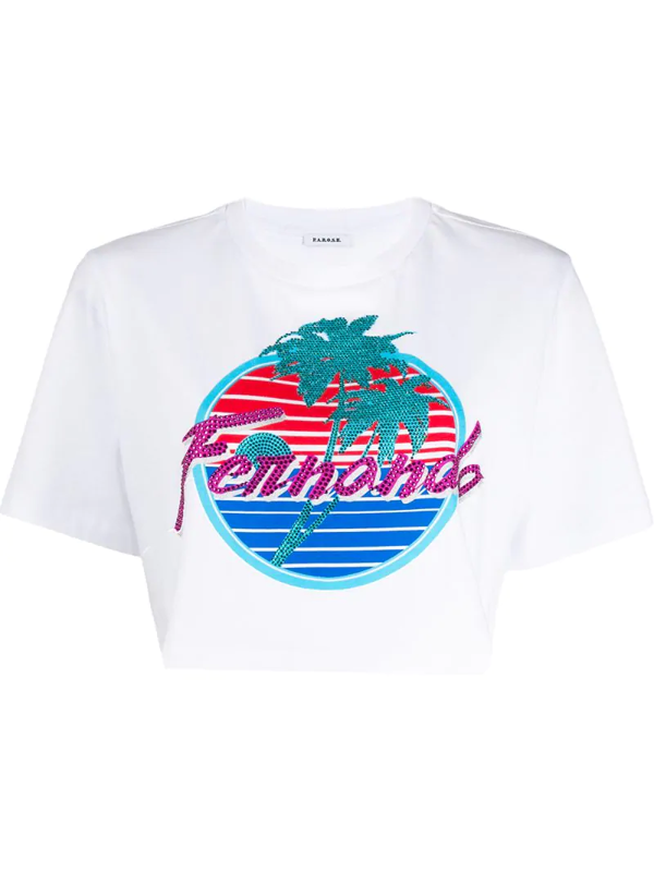 P.a.r.o.s.h. Graphic Print Cropped Cotton T-shirt In White