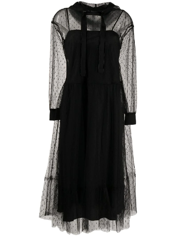 Red Valentino Point D'esprit Hooded Tulle Dress In Black