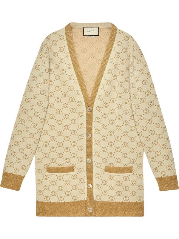 Gucci Gg Pattern Buttoned Cardigan In Multi