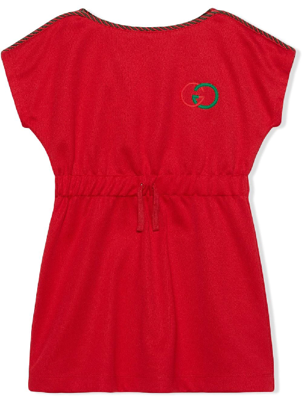 Gucci Kids' Embroidered Logo Technical Jersey Dress In Red