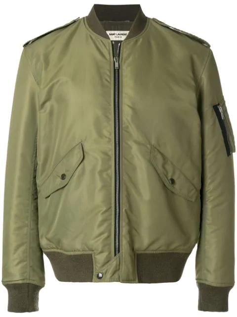 Saint Laurent Classic Bomber Jacket In Khaki Nylon In Green