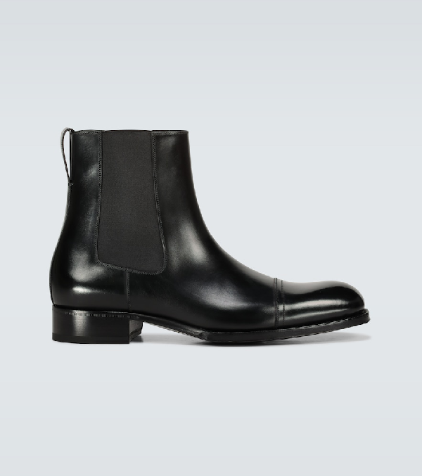 Tom Ford Edgar Cap-toe Polished-leather Chelsea Boots In Black